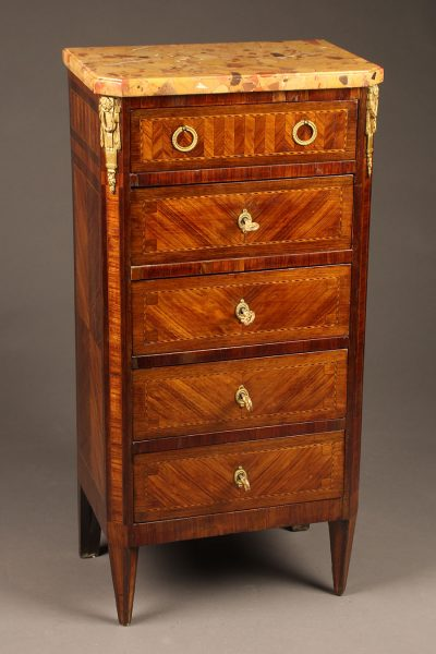 Late 19th century French satin wood tall commode with marble top and brass hardware