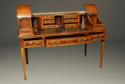 Custom English Carlton House desk in elm and burl elm