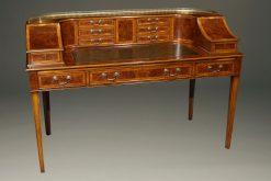 Custom English Carlton House desk in elm and burl elm