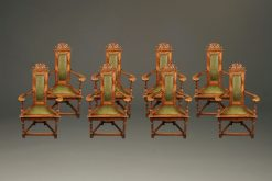 Rare set of 8 French Jacobean armchairs with green leather upholstery