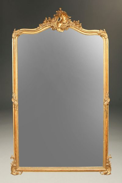 19th century French Louis XV gilded mirror with beveled glass
