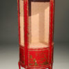 French style red chinoiserie china cabinet