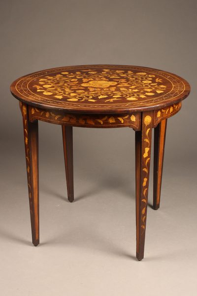 Late 19th century nicely inlaid round Dutch table