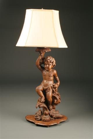 Italian Carved Wood Cupid Lamp