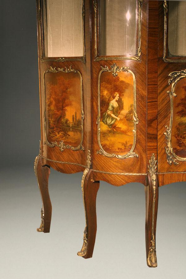 19th century French Vernie Martin Louis XV style bombe vitrine.