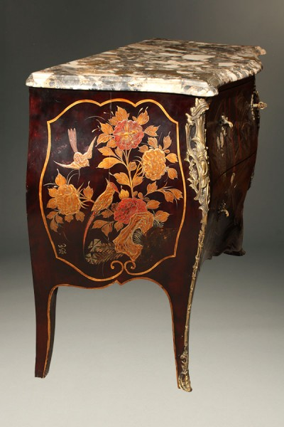 French Marble Top Antique Commode With Chinoiserie Finish