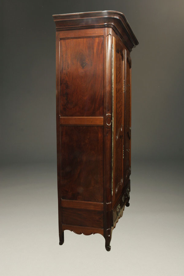 A1872C Louis XV Antique Armoire Mahogany Bordeaux