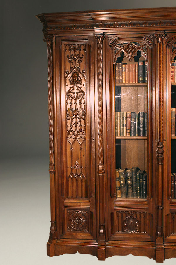 Very Nice Mid 19th Century French Gothic Bookcase