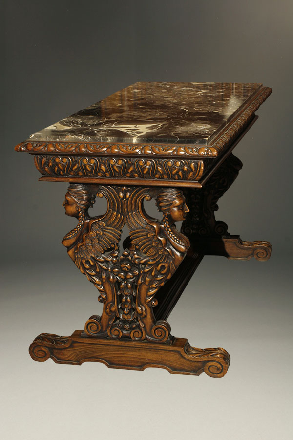 Antique Belgian Carved Marble Top Table