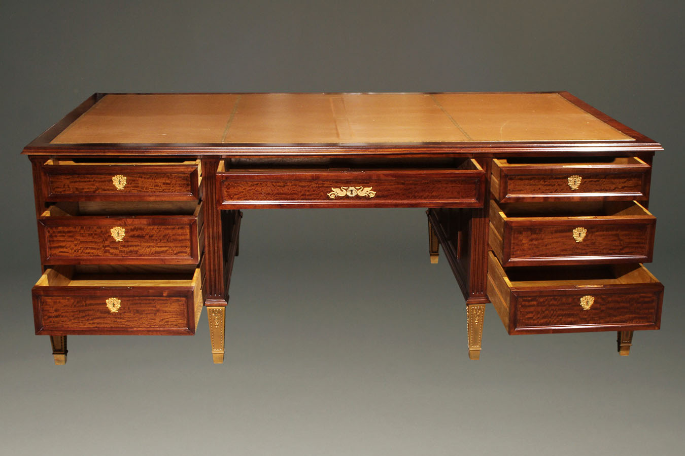 chippendale by large revival furniture with antique desk walnut leather htm top partners warehouse