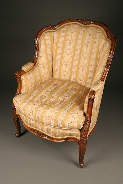 Louis Xv French Wing Back Chair