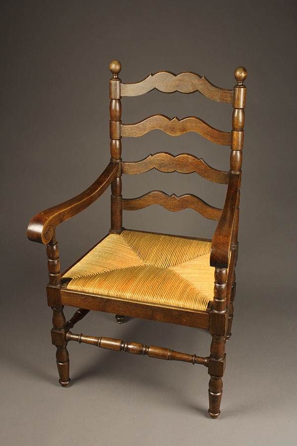 Pair Of Antique Oak Chairs With Rush Seats