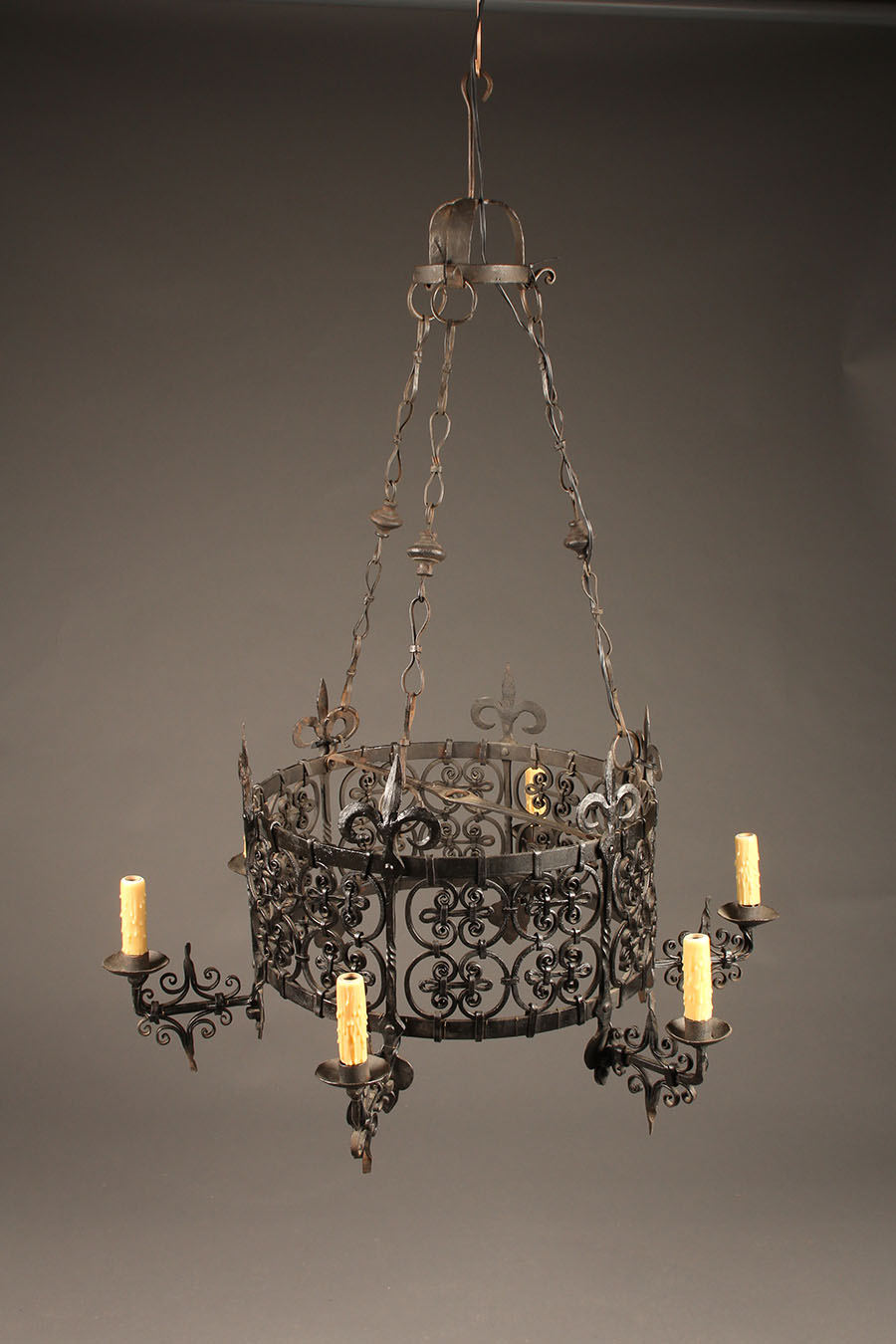 Home/Lighting/Chandeliers/Iron Chandeliers - French Wrought Iron Six Arm Rustic Antique Chandelier