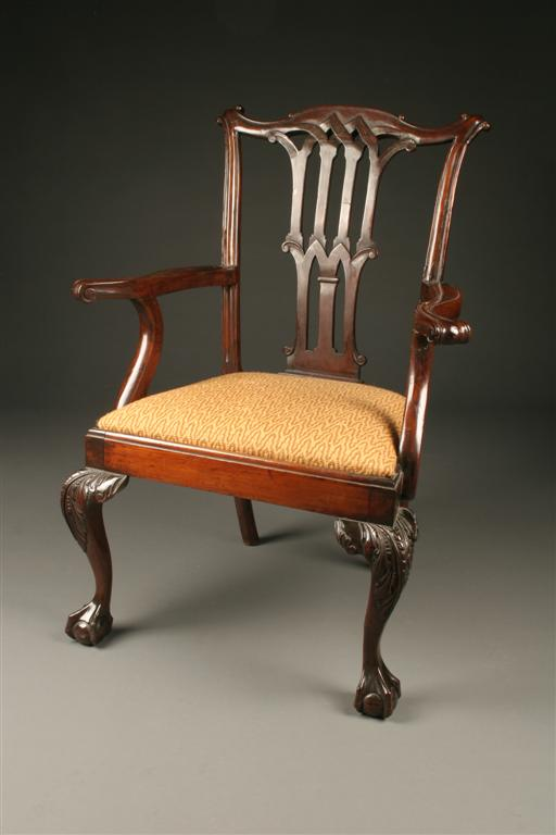 19th Century American Chippendale Armchair Circa 1850 70