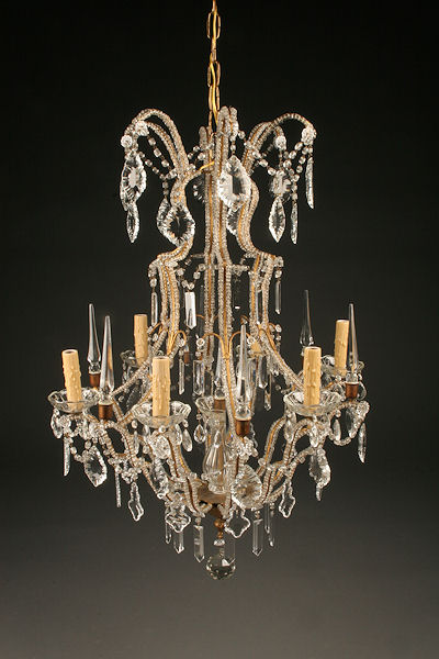 6 arm iron and crystal italian antique chandelier with beads on arms homelightingchandelierscrystal chandeliers aloadofball Images