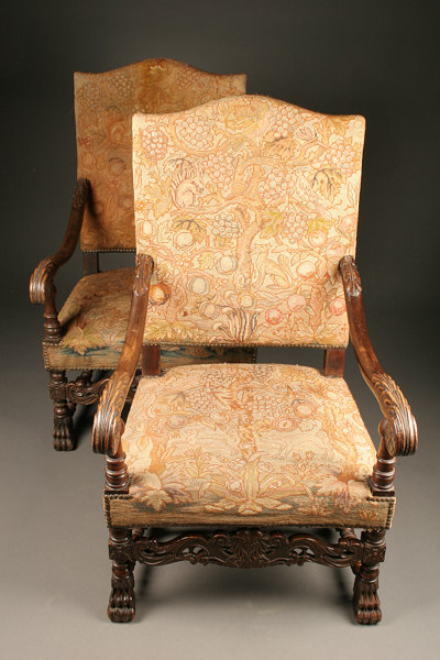 Pair Of French Louis Xiv Baroque Style Armchairs