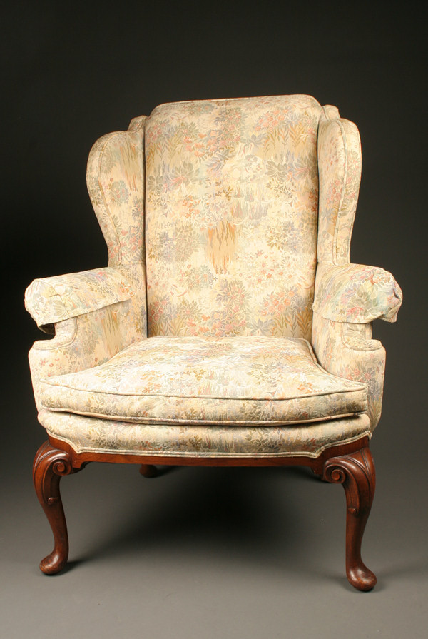 Queen Anne Style Wingback Armchair With Carved Mahogany Legs