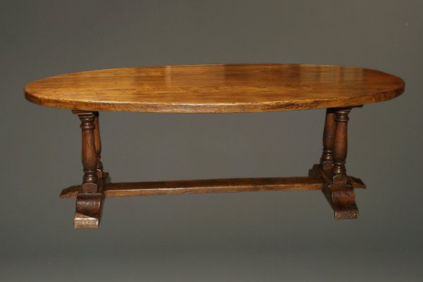 Antique oval top French farmhouse table in oak