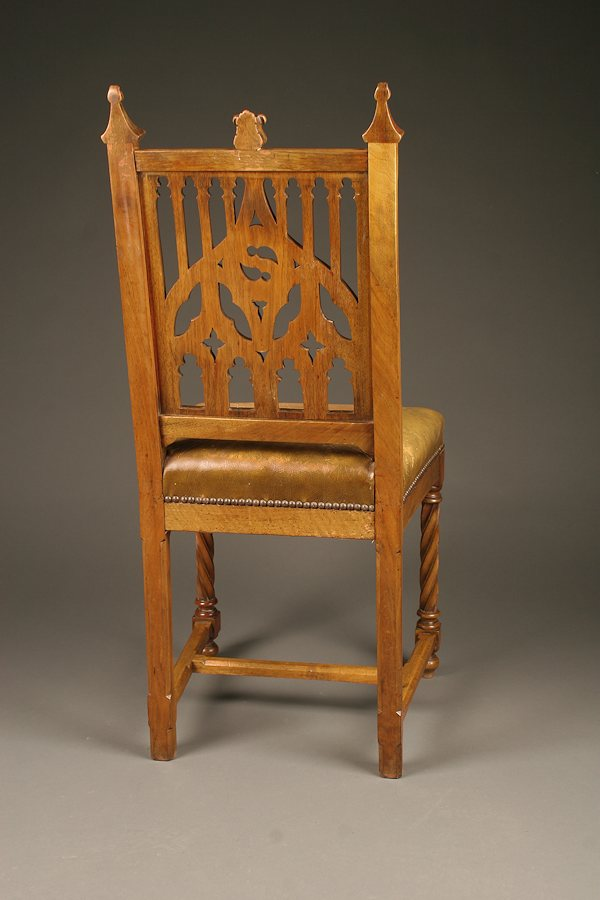 Set Of 6 Antique Hand Carved French Gothic Side Chairs