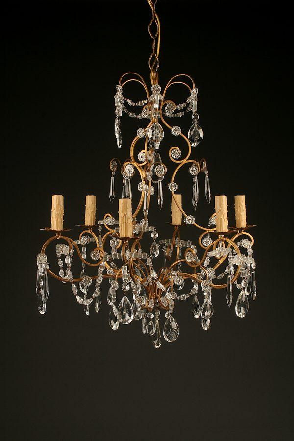 19th century italian gilded iron and crystal antique chandelier homelightingchandelierscrystal chandeliers aloadofball Images