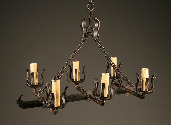 Late 19th century french 6 arm iron viking boat chandelier homelightingchandeliersiron chandeliers mozeypictures Images