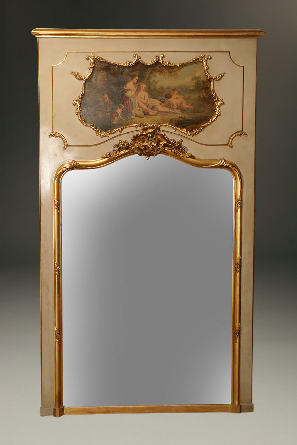 Louis Xvi Style Painted And Gilded French Trumeau Mirror