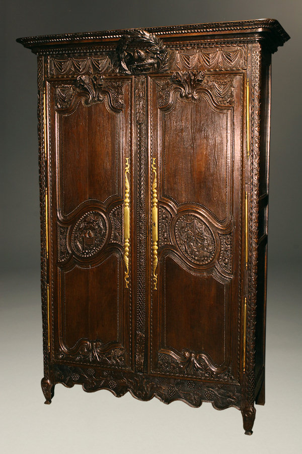 Very Nice French 18th Century Oak Marriage Armoire