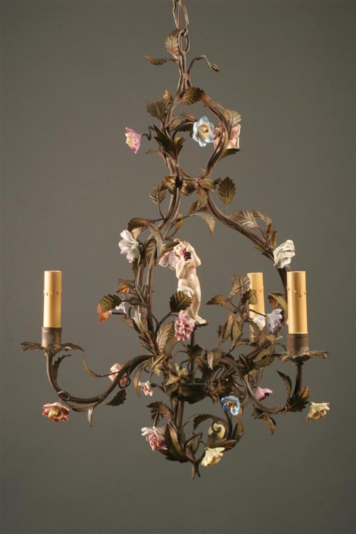 Home/Lighting/Chandeliers/Iron Chandeliers. Antique Italian three arm iron  & porcelain chandelier - Antique Italian Three Arm Iron & Porcelain Chandelier