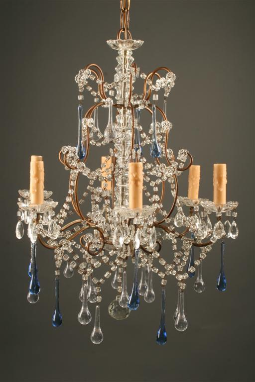 19th century italian six arm iron and crystal antique chandelier homelightingchandelierscrystal chandeliers aloadofball Images