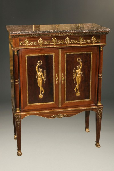 French Empire Style Antique Buffet With Marble Top A5130A