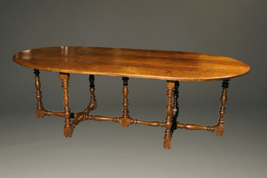 Antique 19th century oval French farmhouse table in oak