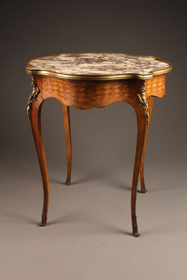 19th Century Antique French Louis Xv Style Marble Top Table