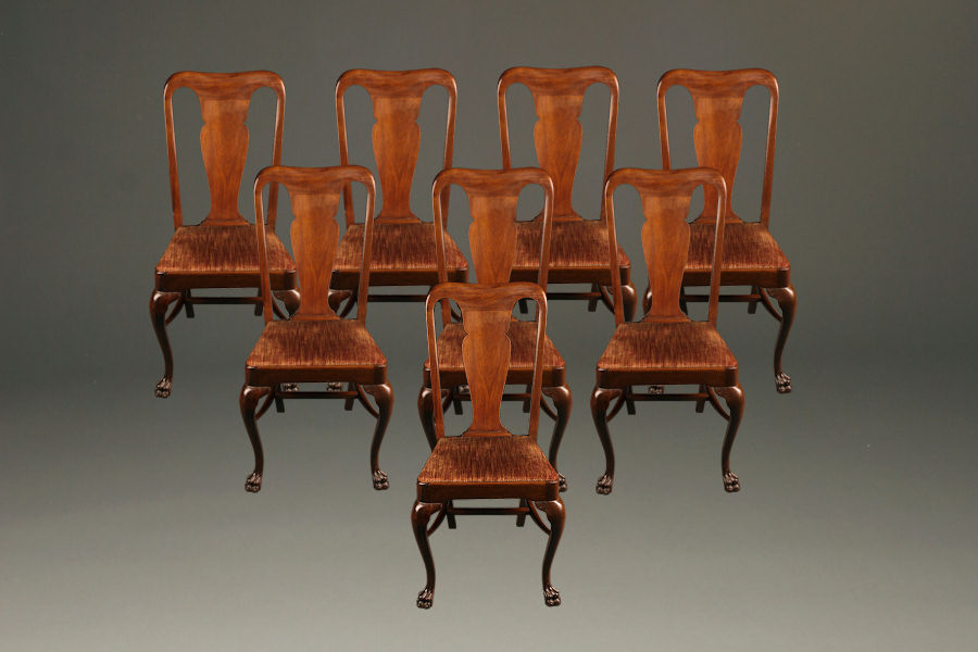 Set of 8 antique mahogany chairs with claw feet A5226A1 - Set Of 8 Antique Mahogany Chairs With Claw Feet.