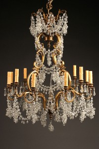 Late 19th century antique French 12 arm bronze and crystal chandelier A5232A1
