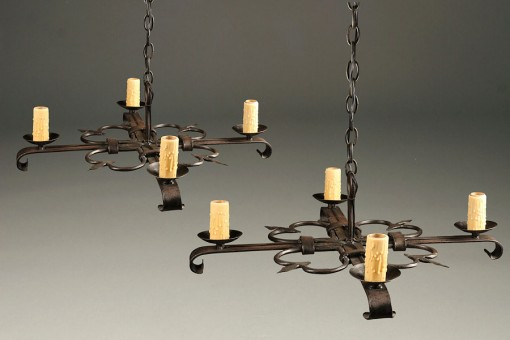 Pair of 19th century French antique chandeliers each with four arms A5234A1