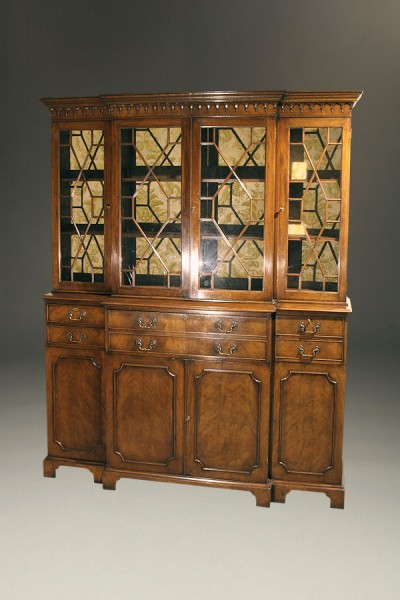 Custom English Federal style breakfront/secretary A5241A1