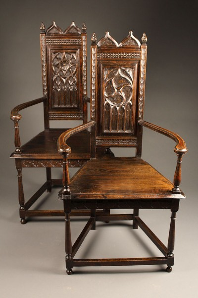 Pair of 19th century Gothic arm chairs A5259A1