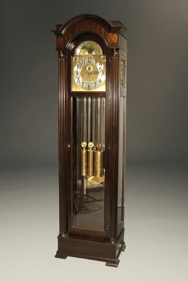 Antique Mahogany Tall Case Clock Made By Colonial Clock Co