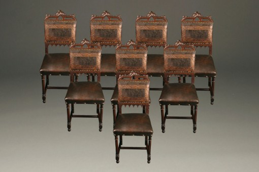 Set of 8 antique French hand carved dining chairs A5280A1