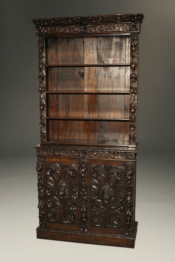 Hand Carved Bookshelf ~ Antique french hand carved book case