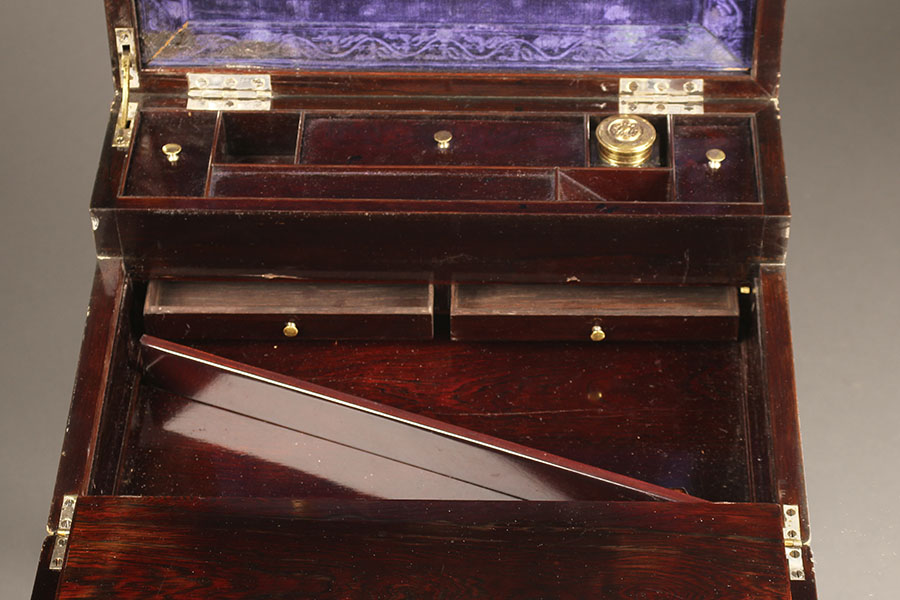 A5302F-19th-century-lap-desk-hobbs-london - Antique English Lap Desk On A Custom Base.