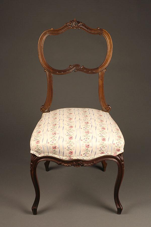 Unique Set of 4 antique Louis XV style chairs. QB94