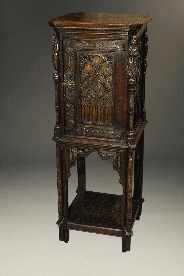 Antique Gothic Bible Cabinet