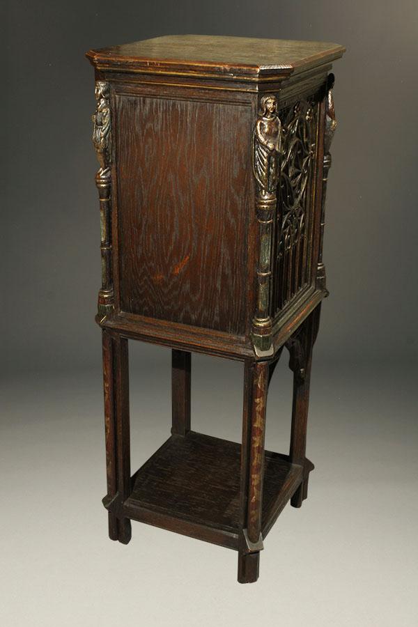 A5336C-gothic-bible-cabinet-antique - Antique Gothic Bible Cabinet.
