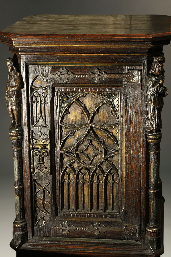 A5336E-gothic-bible-cabinet-antique - Antique Gothic Bible Cabinet.