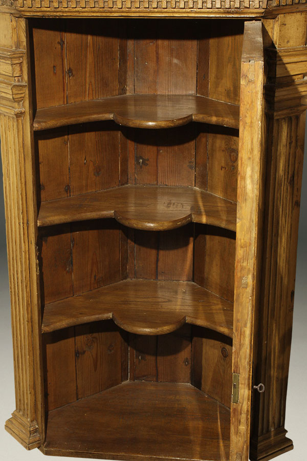 A5338C-english-antique-corner-cupboard-hanging-pine - Antique English Corner Cupboard.