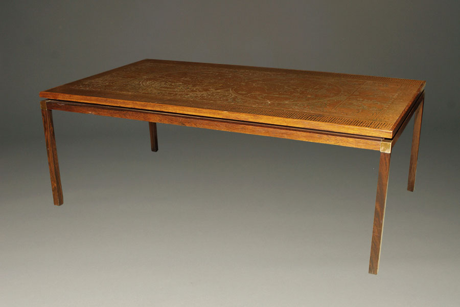 A5342a Antique Rosewood Copper Coffee Map Table1