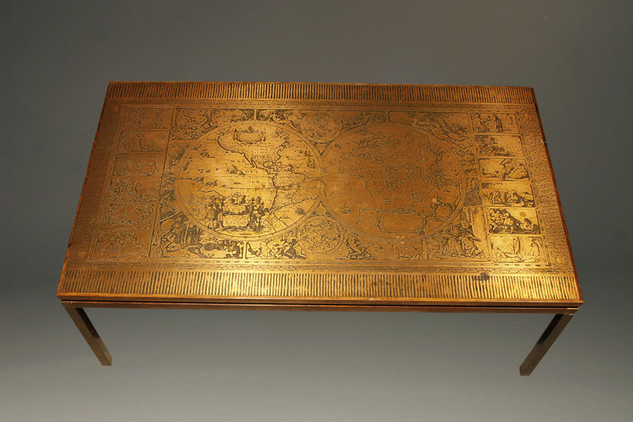 A5342c Antique Rosewood Copper Coffee Map Table