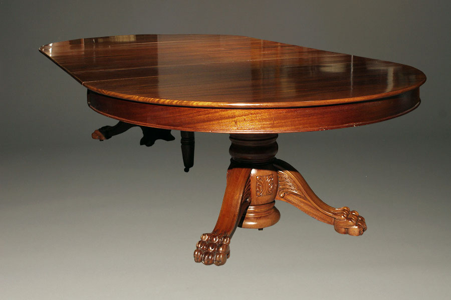 A5345C antique dining table ball claw mahogany. Antique pedestal table with leaves