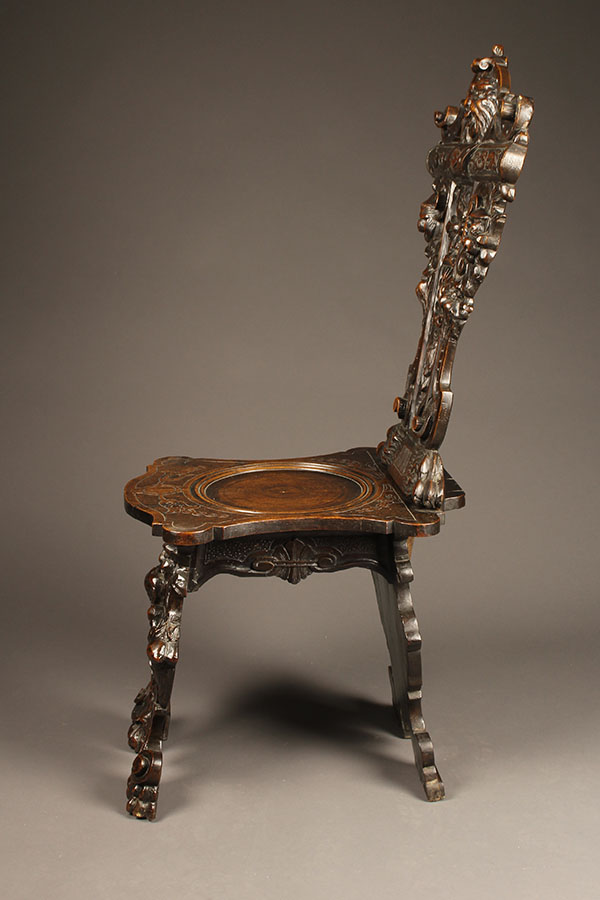 A5355C Antique Pair Chair Chairs Carved Italian